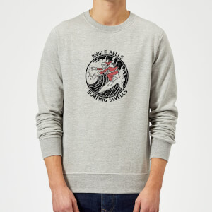 Jungle Bells, Surfing Swells Christmas Sweatshirt - Grey