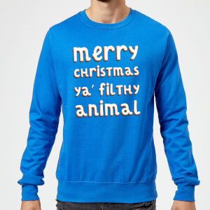 Merry Christmas Ya' Filthy Animal Christmas Sweatshirt - Royal Blue