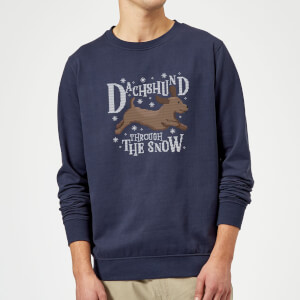 Dachshund Through The Snow Christmas Sweatshirt - Navy