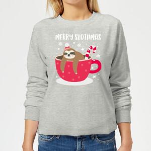 Merry Slothmas Women's Christmas Sweatshirt - Grey