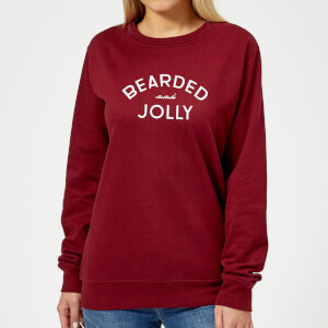Bearded and Jolly Women's Christmas Sweatshirt - Burgundy