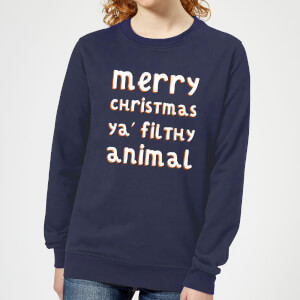 Merry Christmas Ya' Filthy Animal Women's Christmas Sweatshirt - Navy
