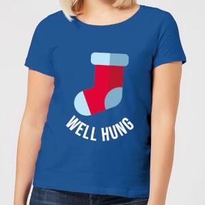 Well Hung Women's Christmas T-Shirt - Royal Blue