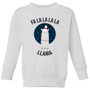 Pull de Noël Enfant Fa La La La Llama - Blanc