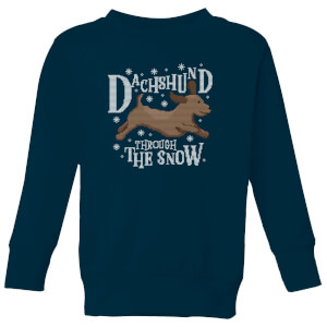 Dachshund Through The Snow Kids' Christmas Sweatshirt - Navy