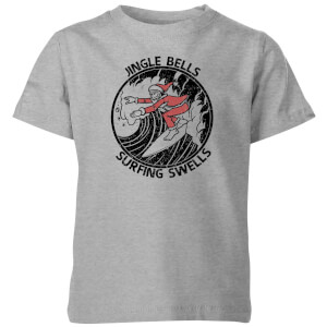 Jungle Bells, Surfing Swells Kids' Christmas T-Shirt - Grey
