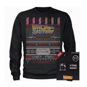 Back To The Future OUTATIME Men's Christmas Sweatshirt and Pin Badge Bundle