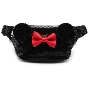 Loungefly Disney Mickey Mouse Minnie Sequin Fanny Pack - Black