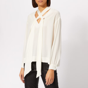 Diane von Furstenberg Women's Jessamine Tie Neck Blouse - Ivory