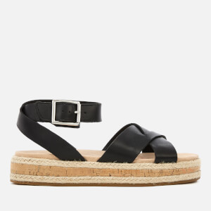 Clarks Women's Botanic Poppy Leather Flatform Sandals - Black