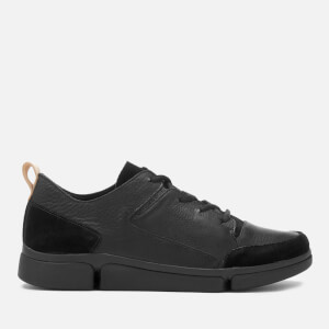 Clarks Men's Triverve Lace Leather Trainers - Black