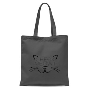 Check Meowt Tote Bag - Grey