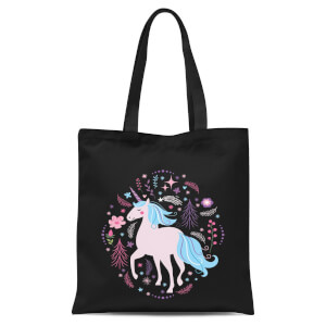 Pink Unicorn Tote Bag - Black