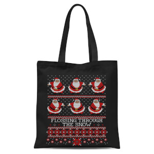 Flossing Through The Snow Tote Bag - Black