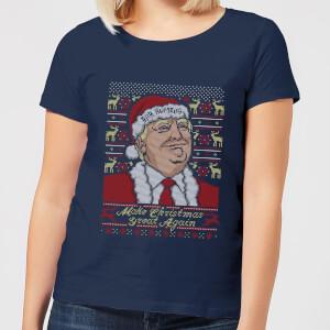 Make Christmas Great Again Women's Christmas T-Shirt - Navy