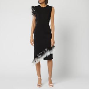 Christopher Kane Women's DNA Feather Midi Dress - Black