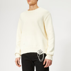 Maison Margiela Men's Gauge 5 Jersey Destroyed Knitted Jumper - Off White
