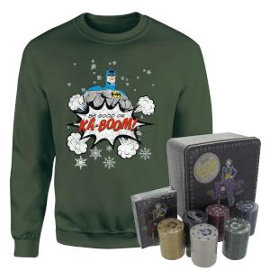 DC Batman Be Good Or Kaboom Christmas Jumper And Joker Poker Bundle - Forest Green