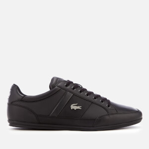 Lacoste Men's Chaymon Bl 1 Leather Low Profile Trainers - Black/Black