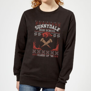 Buffy The Vampire Slayer Sunnydale Pattern Women's Christmas Sweater - Black