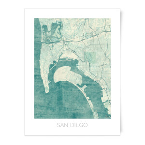 City Art Coloured San Diego Map Art Print