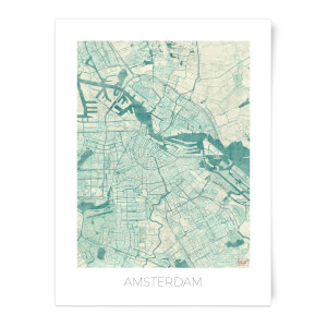 City Art Coloured Amsterdam Map Art Print