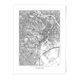 City Art Black and White Outlined Tokyo Map Art Print