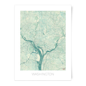 City Art Coloured Washington Map Art Print
