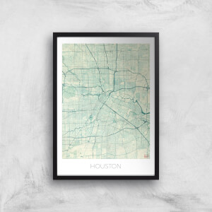 City Art Coloured Houston Map Art Print