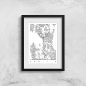 City Art Black and White Seattle Map Art Print