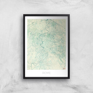 City Art Coloured Rome Map Art Print
