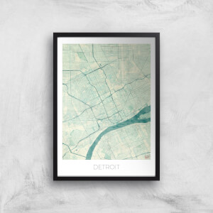 City Art Coloured Detroit Map Art Print