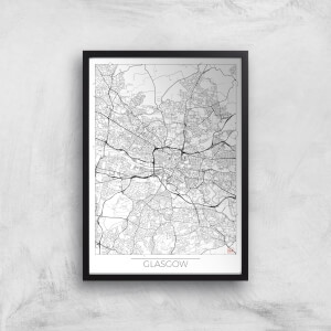 City Art Black and White Outlined Glasgow Map Art Print