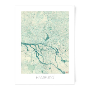 Coloured Hamburg Map Art Print