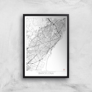 City Art Black and White Outlined Barcelona Map Art Print