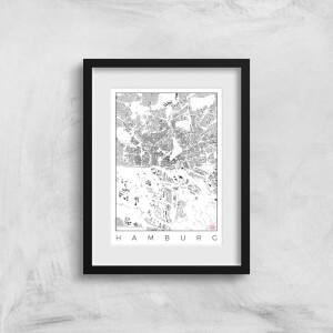 City Art Black and White Hamburg Map Art Print