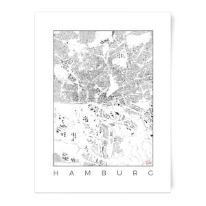 City Art Black and White Hamburg Map Art Print