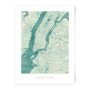 Coloured New York Map Art Print