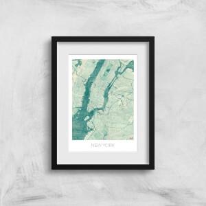 City Art Coloured New York Map Art Print
