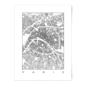 City Art Black and White Paris Map Art Print