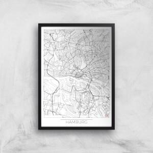 City Art Black and White Outlined Hamburg Map Art Print