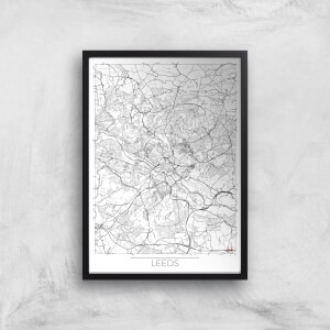City Art Black and White Outlined Leeds Map Art Print