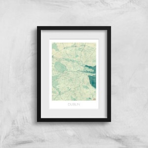 City Art Coloured Dublin Map Art Print