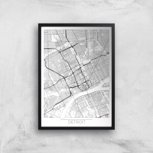 City Art Black and White Outlined Detroit Map Art Print