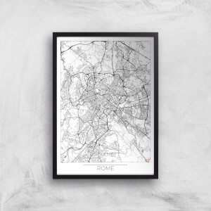 City Art Black and White Outlined Rome Map Art Print