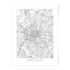 Black and White Outlined Manchester Map Art Print