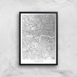 City Art Black and White Outlined London Map Art Print