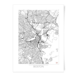 City Art Black and White Outlined Boston Map Art Print