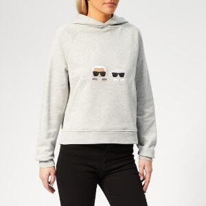 Karl Lagerfeld Women's Ikonik Karl & Choupette Hoodie - Medium Grey Melange