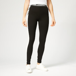 Karl Lagerfeld Women's Bicolor Punto Leggings with Logo - Black